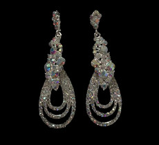 Cristal D' Or Crystal Silver AB Earrings #CD-6946