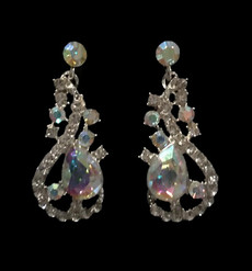 Cristal D' Or Silver AB Earrings #CD-7159