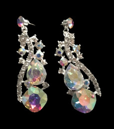 Cristal D' Or Silver AB Earrings #CD-6886
