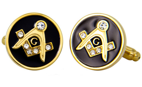 Black and Gold Square and Compass Freemason's Cufflinks