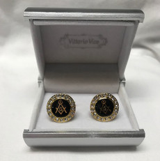 Masonic Black and Gold with Diamonds Square Compass Cufflinks