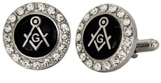 An Embellished pair of Black and Silver Masonic Cufflinks