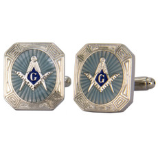 Freemasons Blue and Silver Square and Compass Cufflink Set