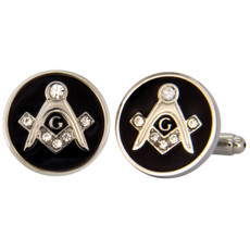 Freemasons Square and Compass Black and Silver Cufflink Set
