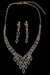 Crystal Set with Silver Plating Necklace and Earring Set #CD-7606