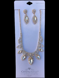 Silver with Gold Plating Necklace and Earring Set HURS-4501677802
