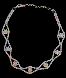 Silver AB Necklace with Iridescent Flower Details Choker #CD-7216