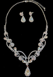 Crystal Silver Set with Tear Drop Details Necklace and Earring Set #CD-7634