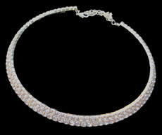 Elegant Crystal with Silver Plating Choker #CD-7216