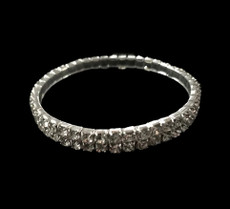 Silver Plated Double Row Stretch Bracelet Cristal D'Or Bracelet 18