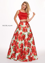RACHEL ALLAN 6589 Two Piece Floral Ball Gown Prom Dress