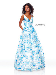Clarisse 3800 Blue A-Line Floral Ballgown with Corset Back