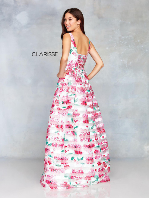 Clarisse 3800 Pink A-Line Floral Ballgown with Corset Back
