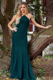 Jovani 59887 Emerald Open Back Fitted Prom Dress
