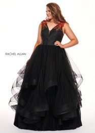 RACHEL ALLAN Curves Black Red V-Neck Ball Gown Plus Size Prom Dress
