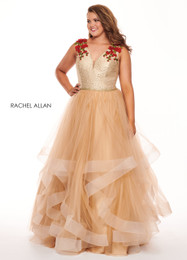 RACHEL ALLAN Curves Champagne Red V-Neck Ball Gown Plus Size Prom Dress