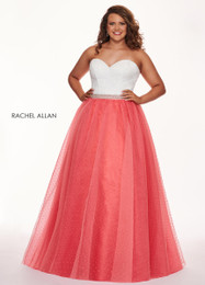 RACHEL ALLAN 6677 Curves White Coral Sweetheart Ball Gown Plus Size Prom Dress