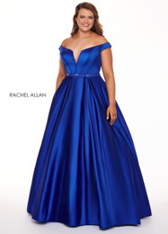 RACHEL ALLAN Curves 6670 Royal Blue Off the Shoulder Ball Gown Plus Size Prom Dress