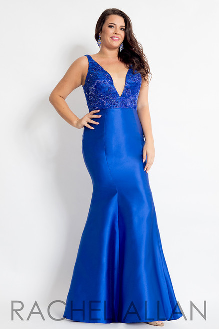 RACHEL ALLAN Curves 6310 Royal Mermaid Mikado Plunging V-Neck Plus Size Prom Dress