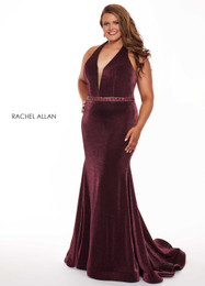 RACHEL ALLAN Curves 6667 Magenta Black Fit and Flare Plus Size Prom Dress