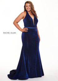 RACHEL ALLAN Curves 6667 Royal Black Fit and Flare Plus Size Prom Dress