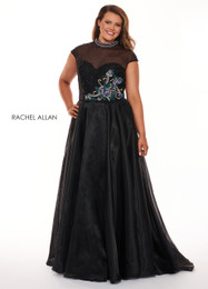 RACHEL ALLAN Curves 6661 Black Organza A-Line Plus Size Prom Dress