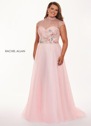 RACHEL ALLAN Curves 6661 Blush Organza A-Line Plus Size Prom Dress