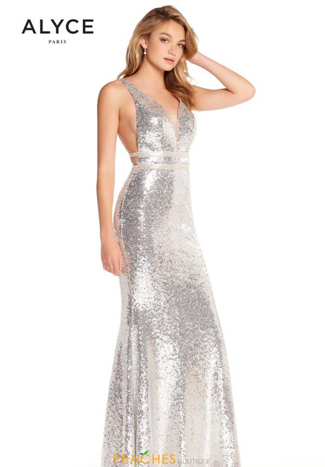 Alyce Paris 60036 Silver Open Back Completely Sequined Gown