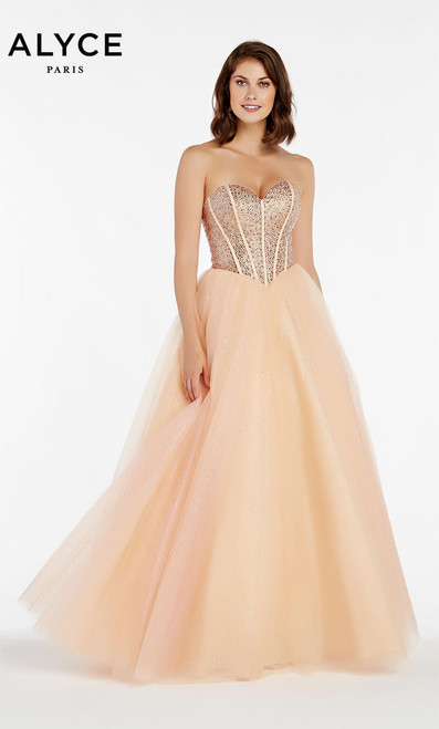 Alyce Paris 60383 Shell Stapless Ball Gown with Corset Back Prom Dress