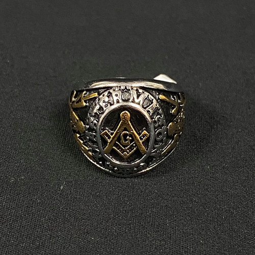 Silver Gold Black Masonic Ring Square and Compass Size 9