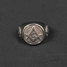 Silver Masonic Ring Square and Compass Size 10