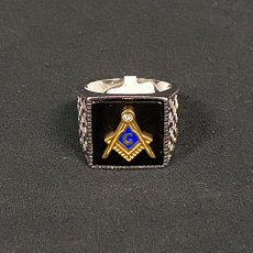 Silver Gold Black Masonic Ring Square and Compass