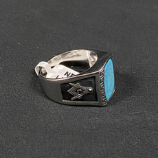 Silver Turquoise Black Masonic Ring Square and Compass