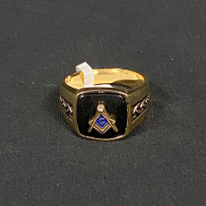Gold Black Masonic Ring Square and Compass