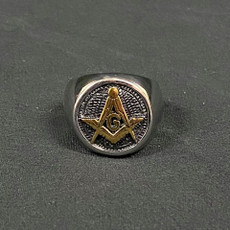 Silver Gold Masonic Ring Square and Compass Size 13