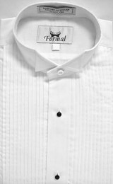 White 1/4 Pleat Wing Collar Shirt