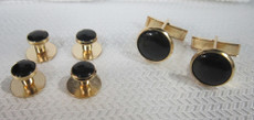 Black and Gold Studs and Cufflinks Set