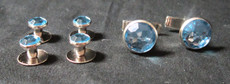 Light Blue and Silver Stud and Cufflink Set