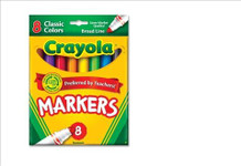 438015, Crayola Markers, Conical Tip, 8 Classic Colors