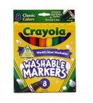 438003, Crayola Washable Markers, Conical Tip, 8 Classic Colors