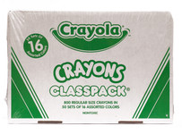 438148, Crayola Crayons, Regular, 16 colors, 800 ct. Classpack