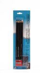 447089, Primo Euro Blend Charcoal Pencil, Set of 4/ Plus Sharpener & Eraser