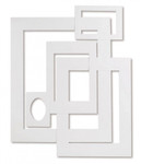 343221, Pacon Pre-Cut Mat Frames, WHITE, Assorted Sizes