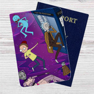 Dr Who Rick and Morty Custom Leather Passport Wallet Case Cover