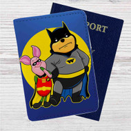 Pooh and Piglet Batman Robin Custom Leather Passport Wallet Case Cover