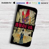 Neon Genesis Evangelion X Attack on Titan Custom Leather Wallet iPhone Samsung Galaxy LG Motorola Nexus Sony HTC Case