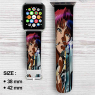 Black Lagoon With Gun Custom Apple Watch Band Leather Strap Wrist Band Replacement 38mm 42mm