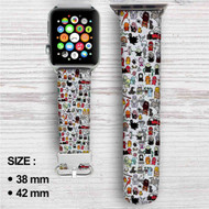 Chibi Harry Potter Doodle Custom Apple Watch Band Leather Strap Wrist Band Replacement 38mm 42mm