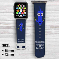 Disney Dory Quotes Custom Apple Watch Band Leather Strap Wrist Band Replacement 38mm 42mm