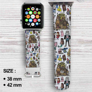 Gravity Falls Mystery Sack Collage Custom Apple Watch Band Leather Strap Wrist Band Replacement 38mm 42mm